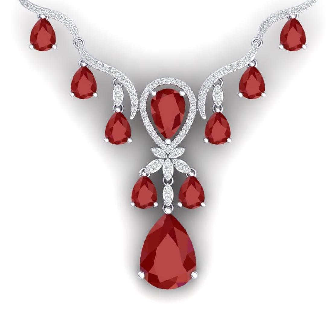 36.14 CTW Royalty Ruby & VS Diamond Necklace 18K White