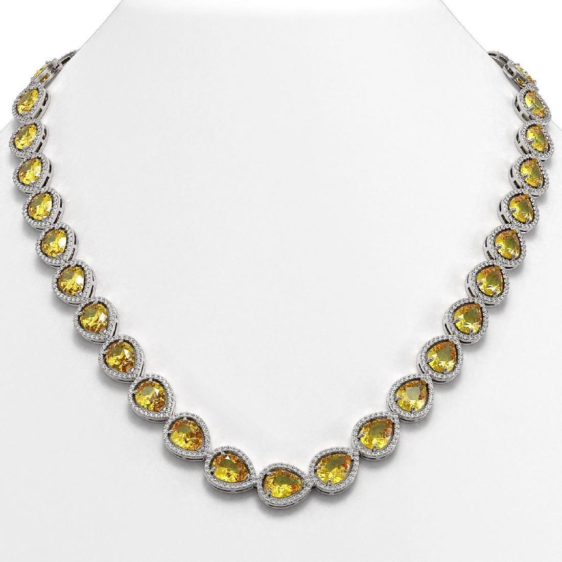 36.8 CTW Fancy Citrine & Diamond Halo Necklace 10K