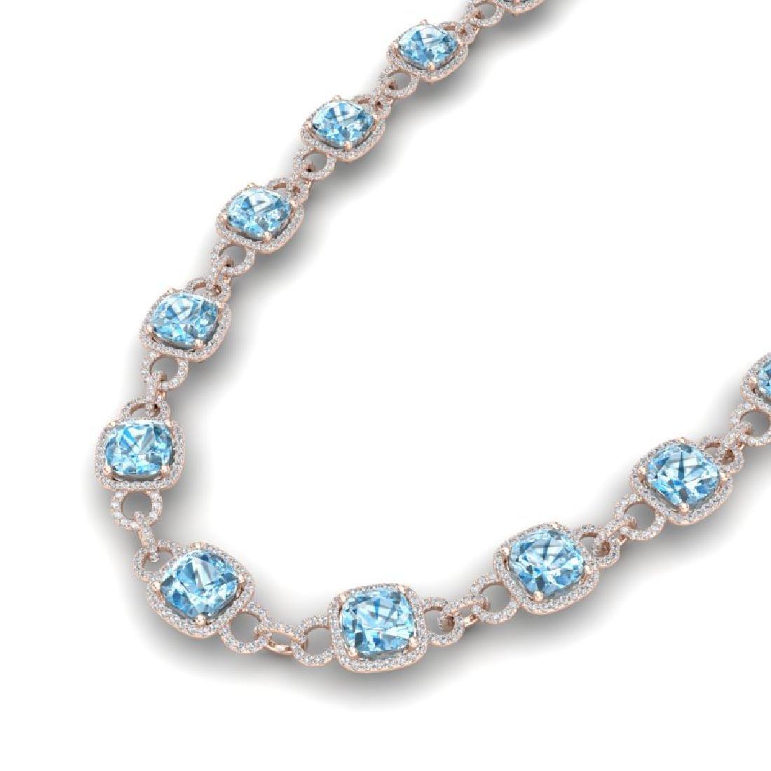 66 CTW Topaz & VS/SI Diamond Necklace 14K Rose Gold