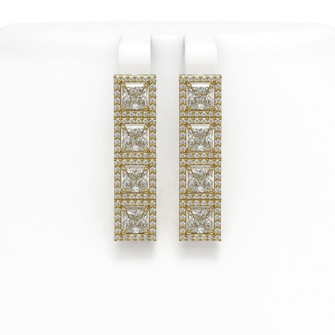 6.08 CTW Princess Diamond Designer Earrings 18K Yellow