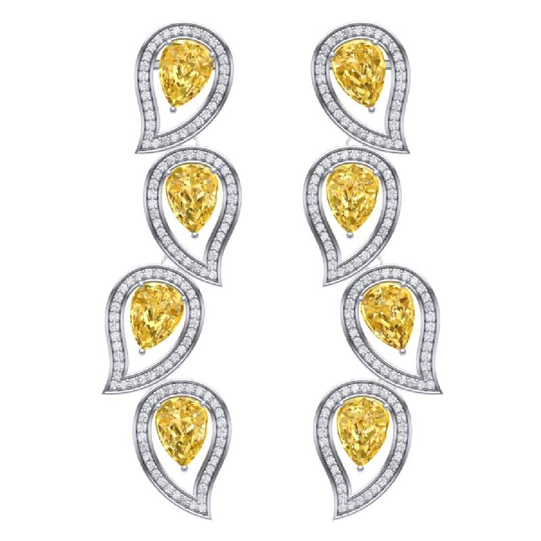 14.63 CTW Royalty Canary Citrine & VS Diamond Earrings
