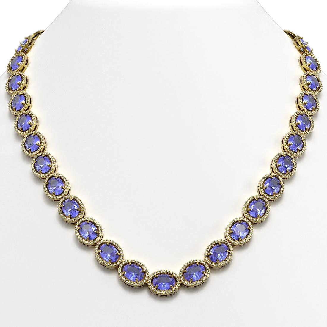 62.99 CTW Tanzanite & Diamond Halo Necklace 10K Yellow
