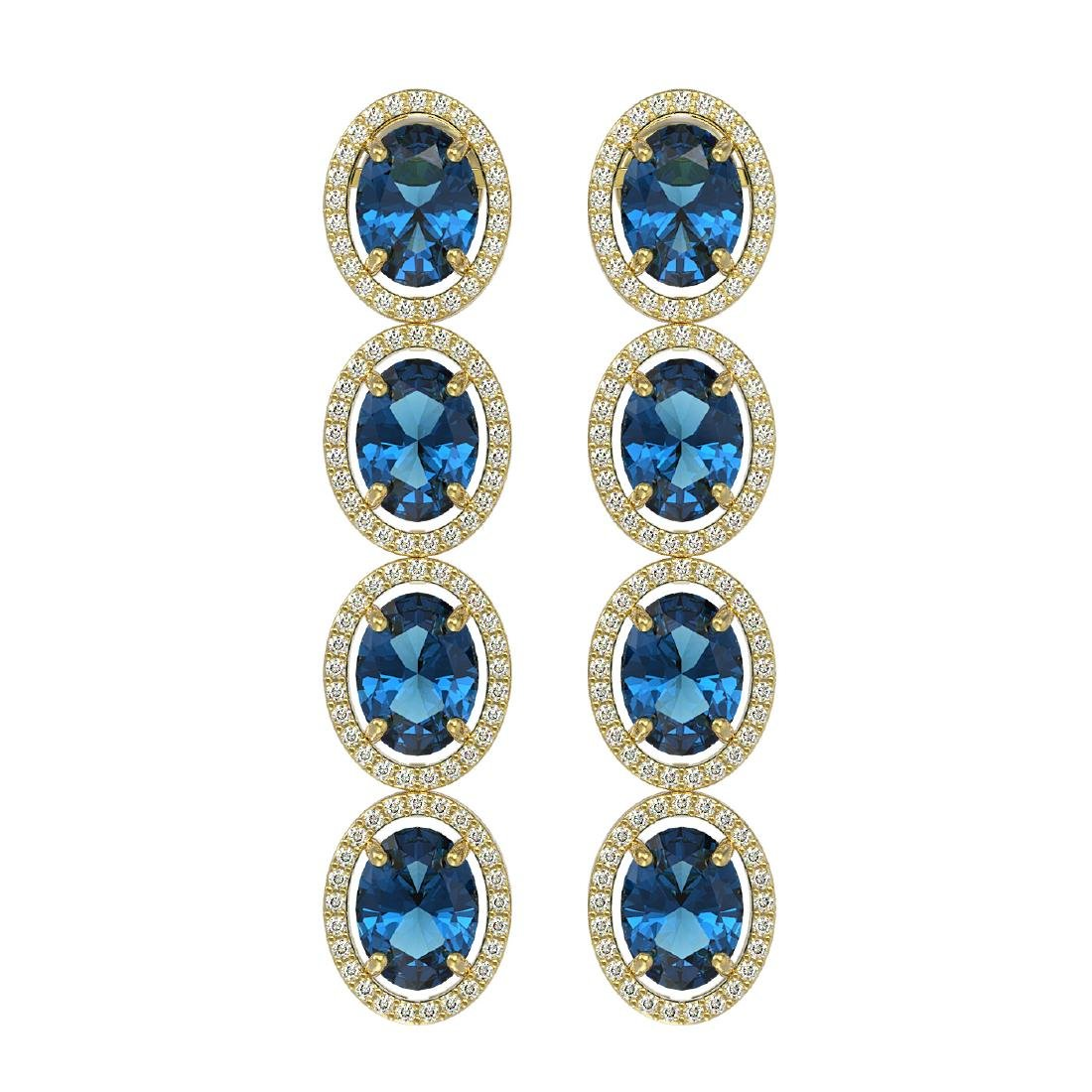 14.76 CTW London Topaz & Diamond Halo Earrings 10K