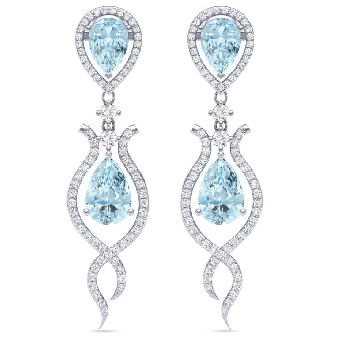 16.57 CTW Royalty Sky Topaz & VS Diamond Earrings 18K