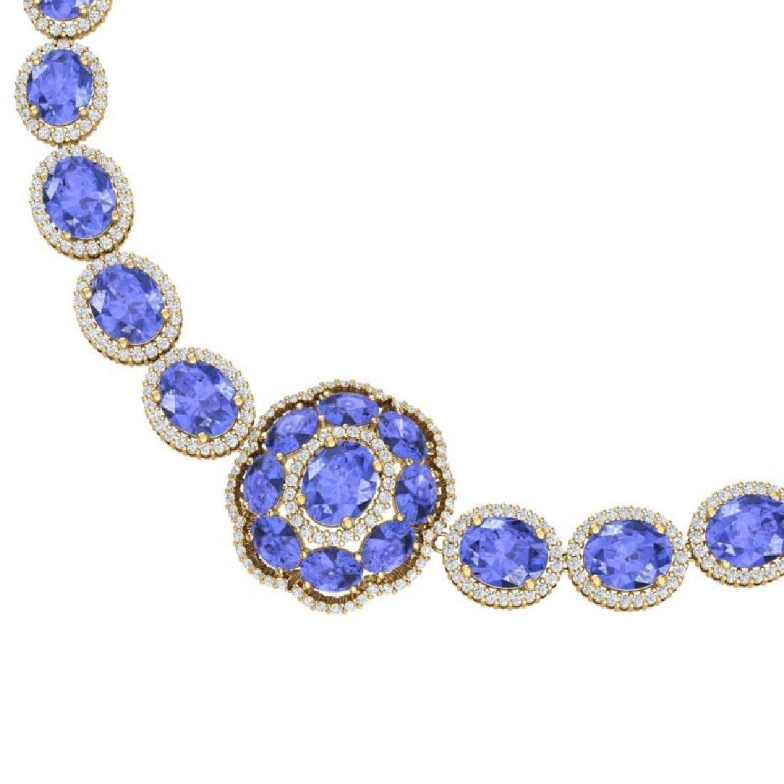 55.84 CTW Royalty Tanzanite & VS Diamond Necklace 18K