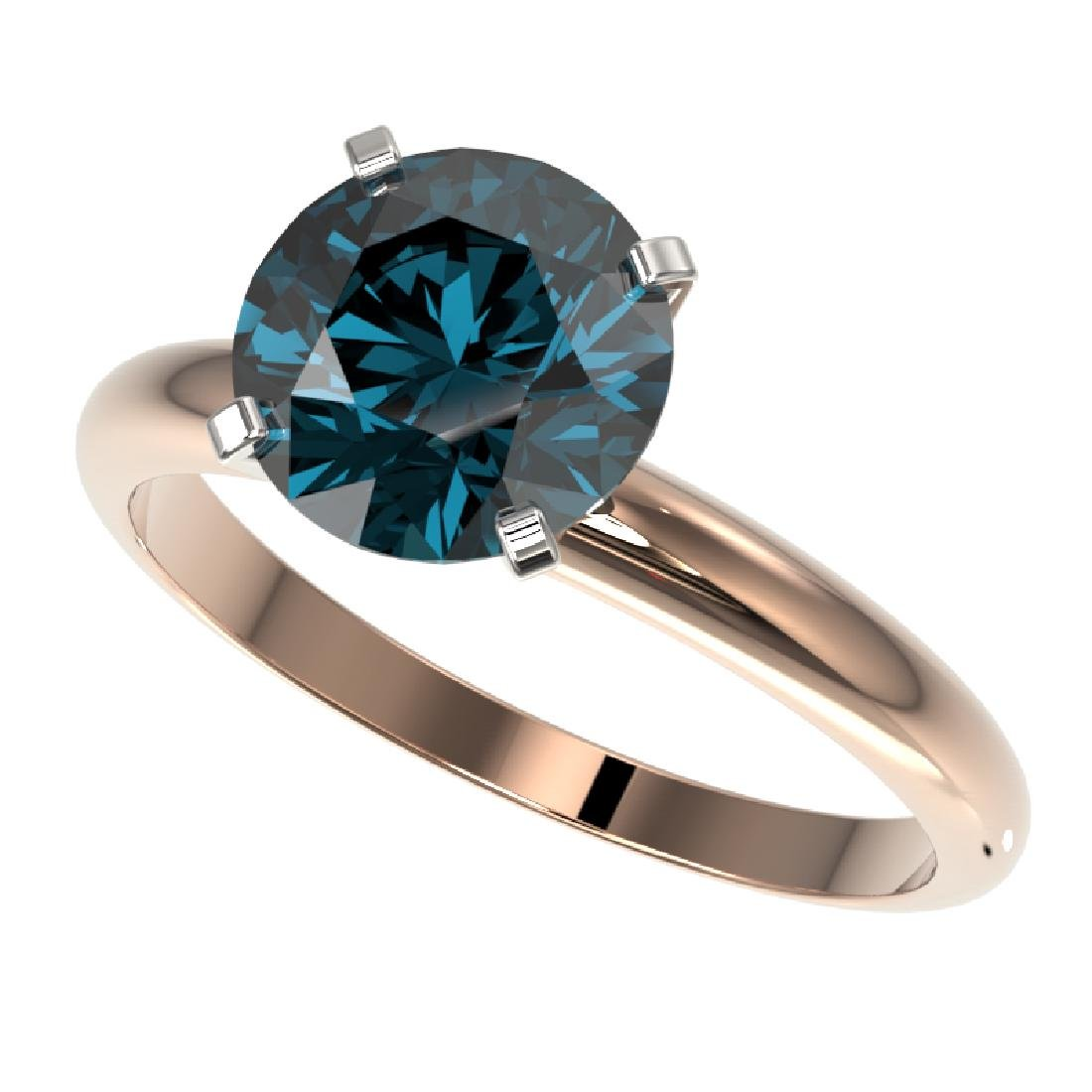 2.50 CTW Certified Fancy Blue SI Diamond Solitaire Ring