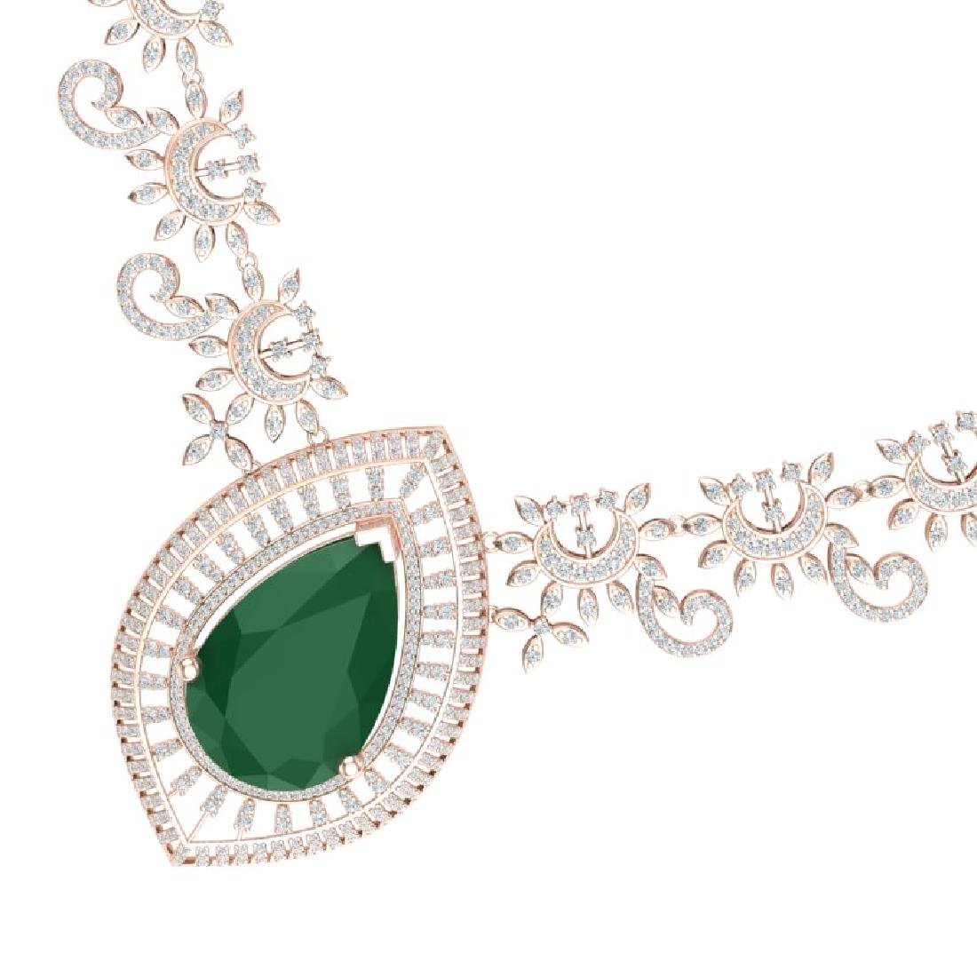 65.75 CTW Royalty Emerald & VS Diamond Necklace 18K