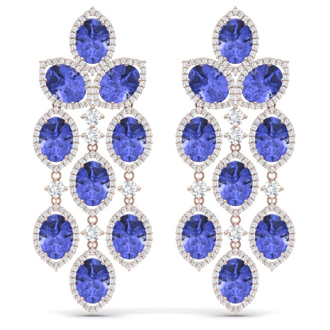 20.53 CTW Royalty Tanzanite & VS Diamond Earrings 18K