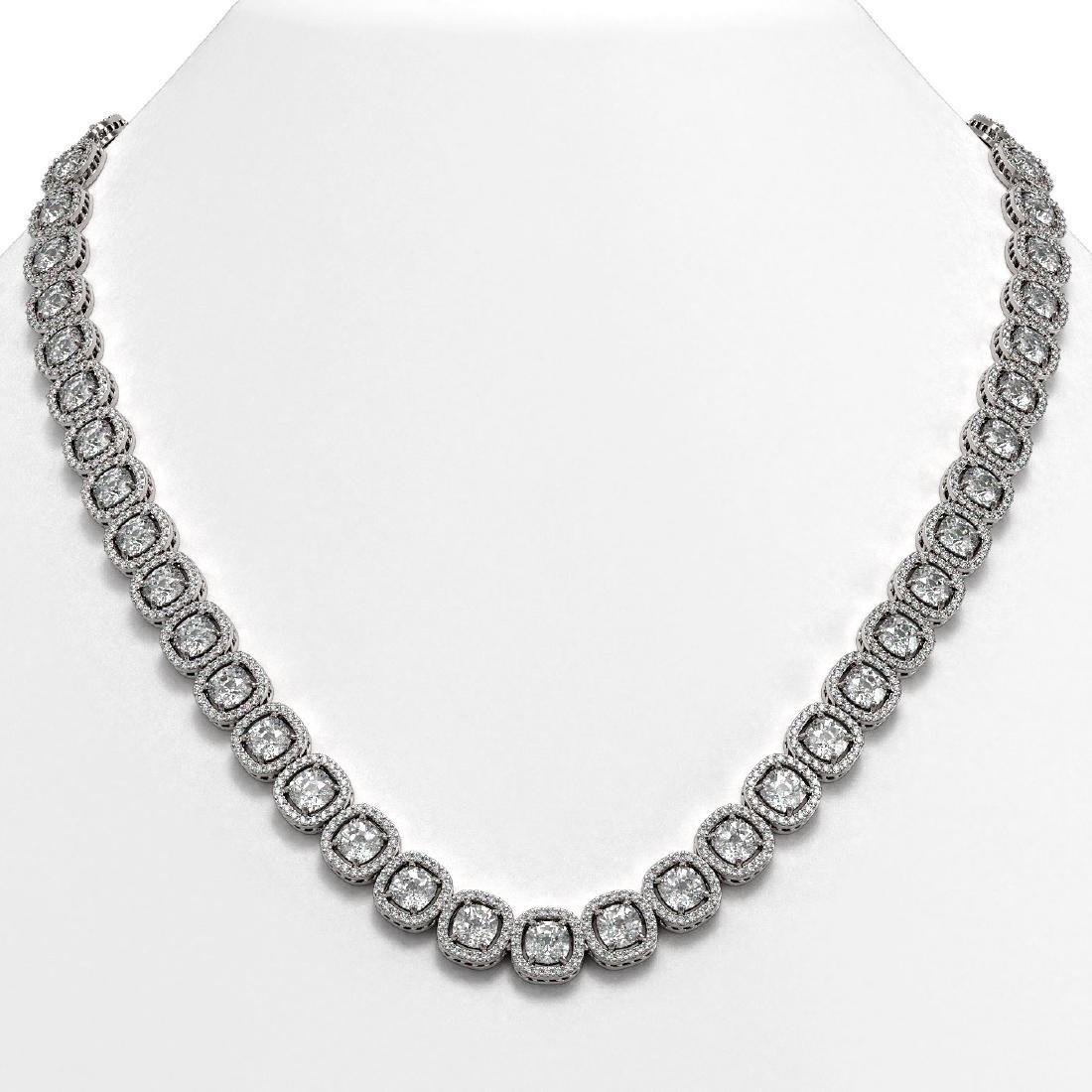 37.60 CTW Cushion Diamond Designer Necklace 18K White