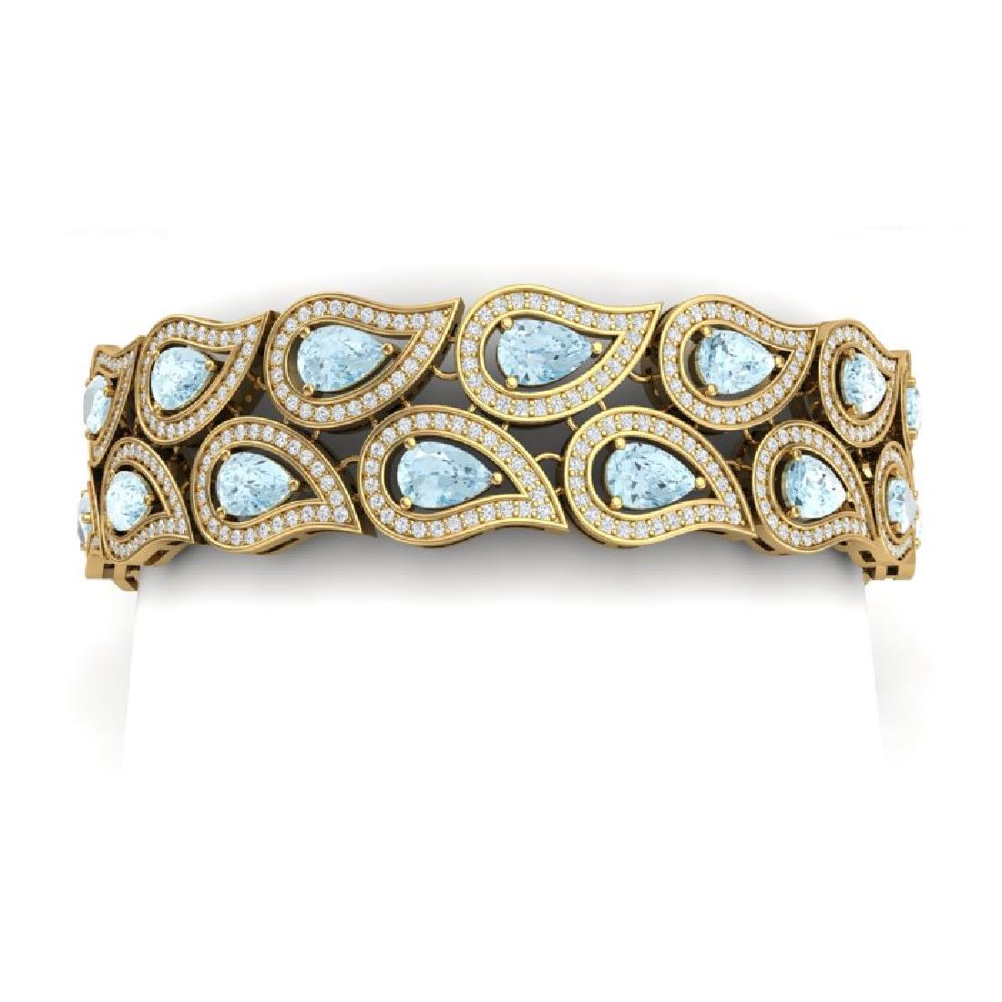 19.62 CTW Royalty Sky Topaz & VS Diamond Bracelet 18K