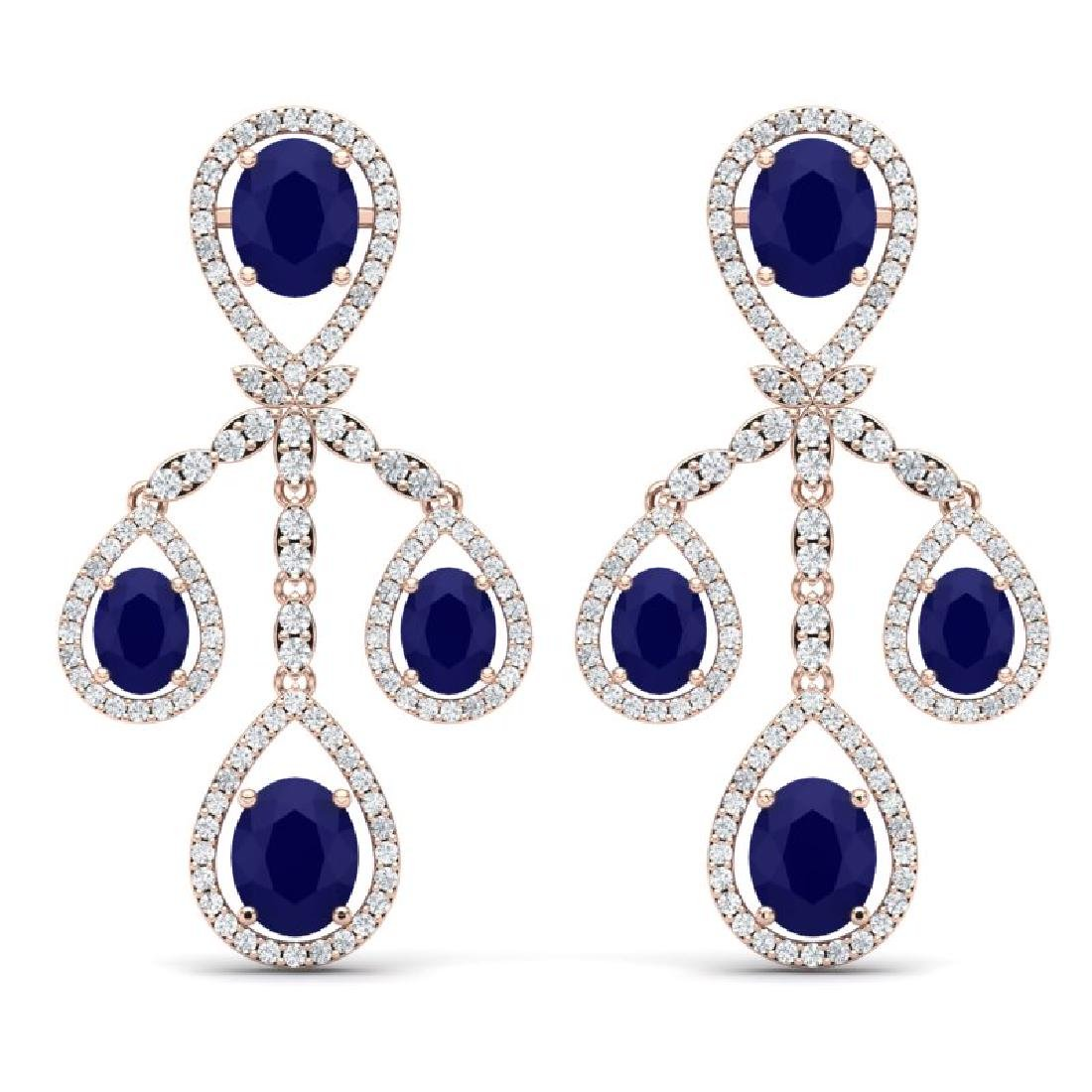 25.08 CTW Royalty Sapphire & VS Diamond Earrings 18K