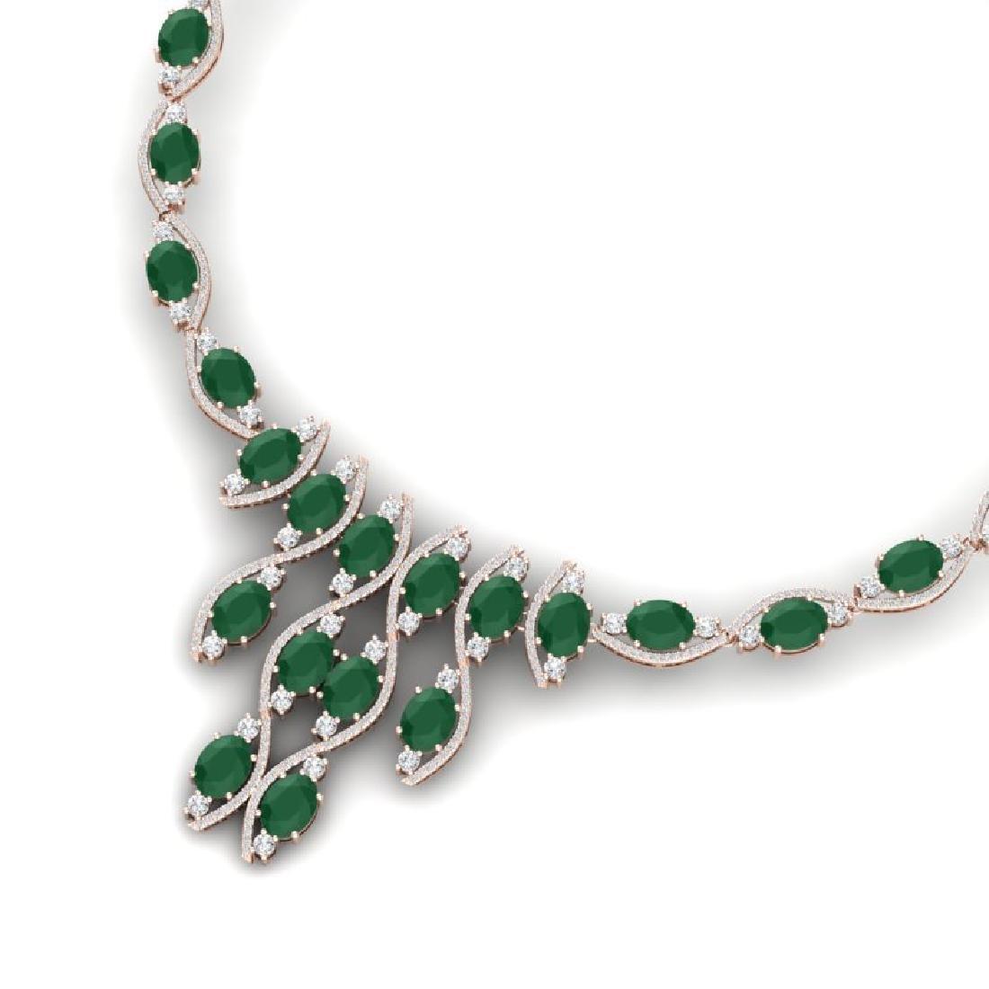 65.93 CTW Royalty Emerald & VS Diamond Necklace 18K