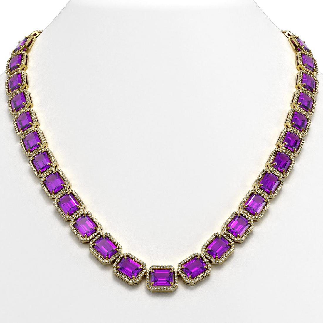 76.69 CTW Amethyst & Diamond Halo Necklace 10K Yellow