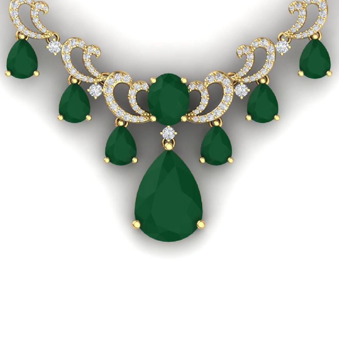 36.85 CTW Royalty Emerald & VS Diamond Necklace 18K