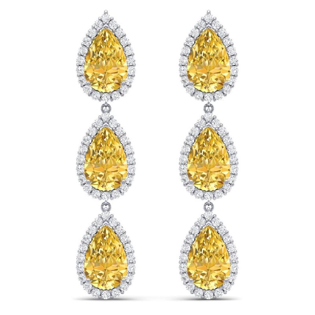 24.23 CTW Royalty Canary Citrine & VS Diamond Earrings