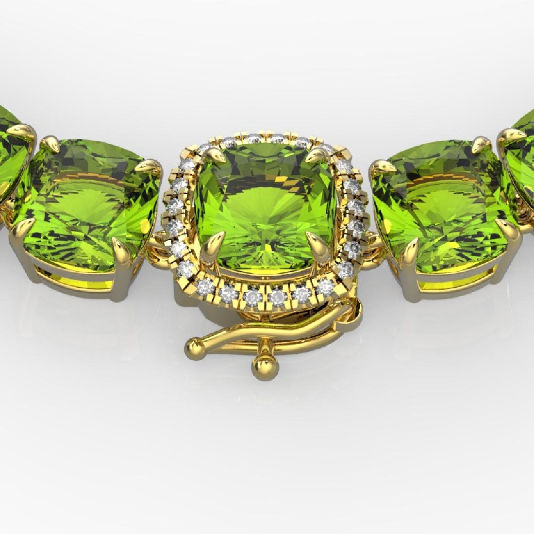 100 CTW Peridot & VS/SI Diamond Solitaire Necklace 14K