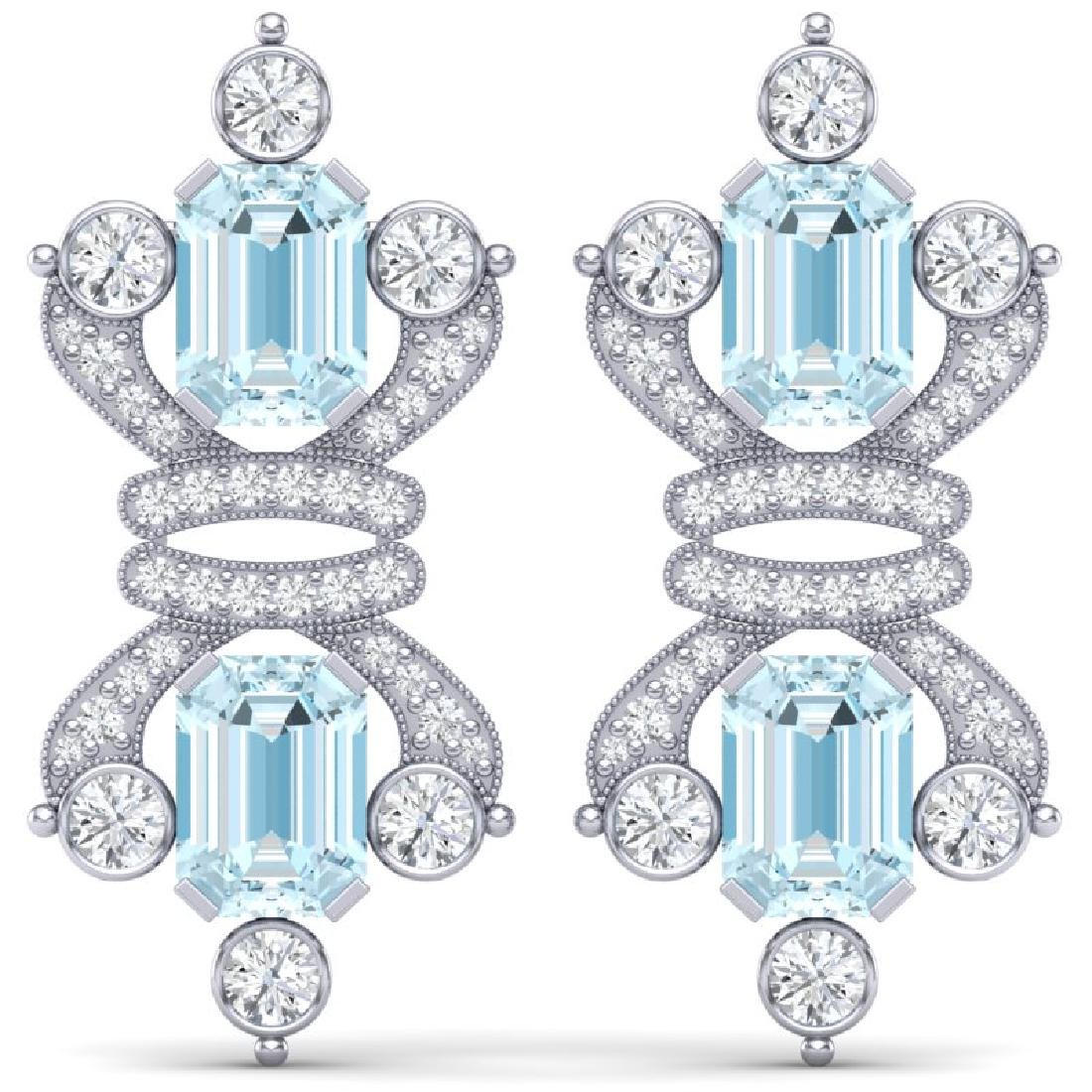 28.39 CTW Royalty Sky Topaz & VS Diamond Earrings 18K