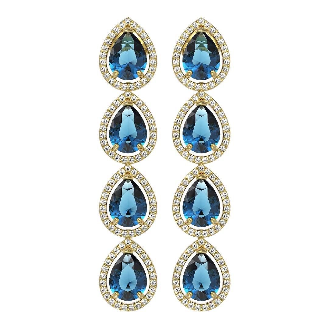 11.2 CTW London Topaz & Diamond Halo Earrings 10K