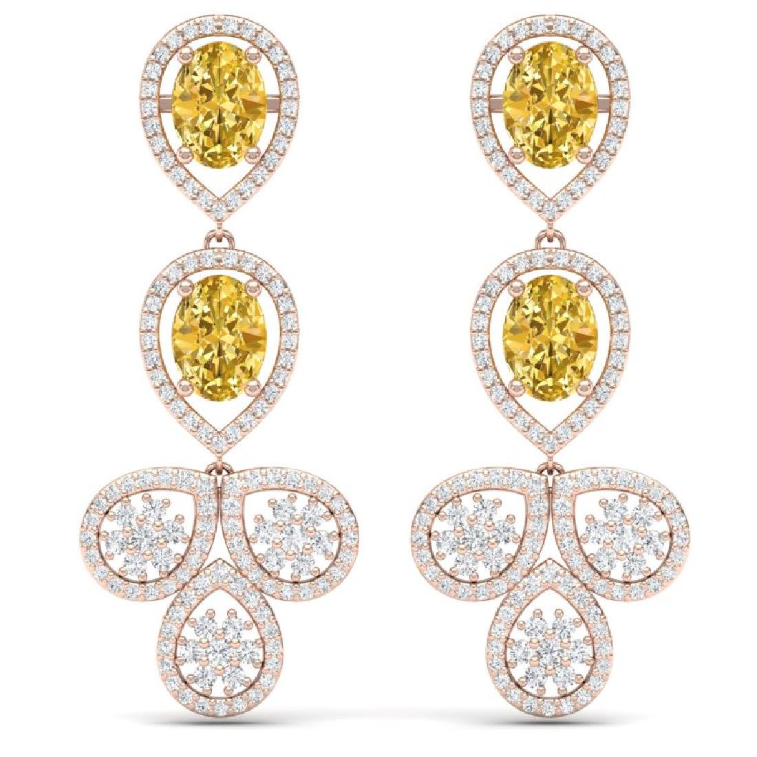 8.15 CTW Royalty Canary Citrine & VS Diamond Earrings