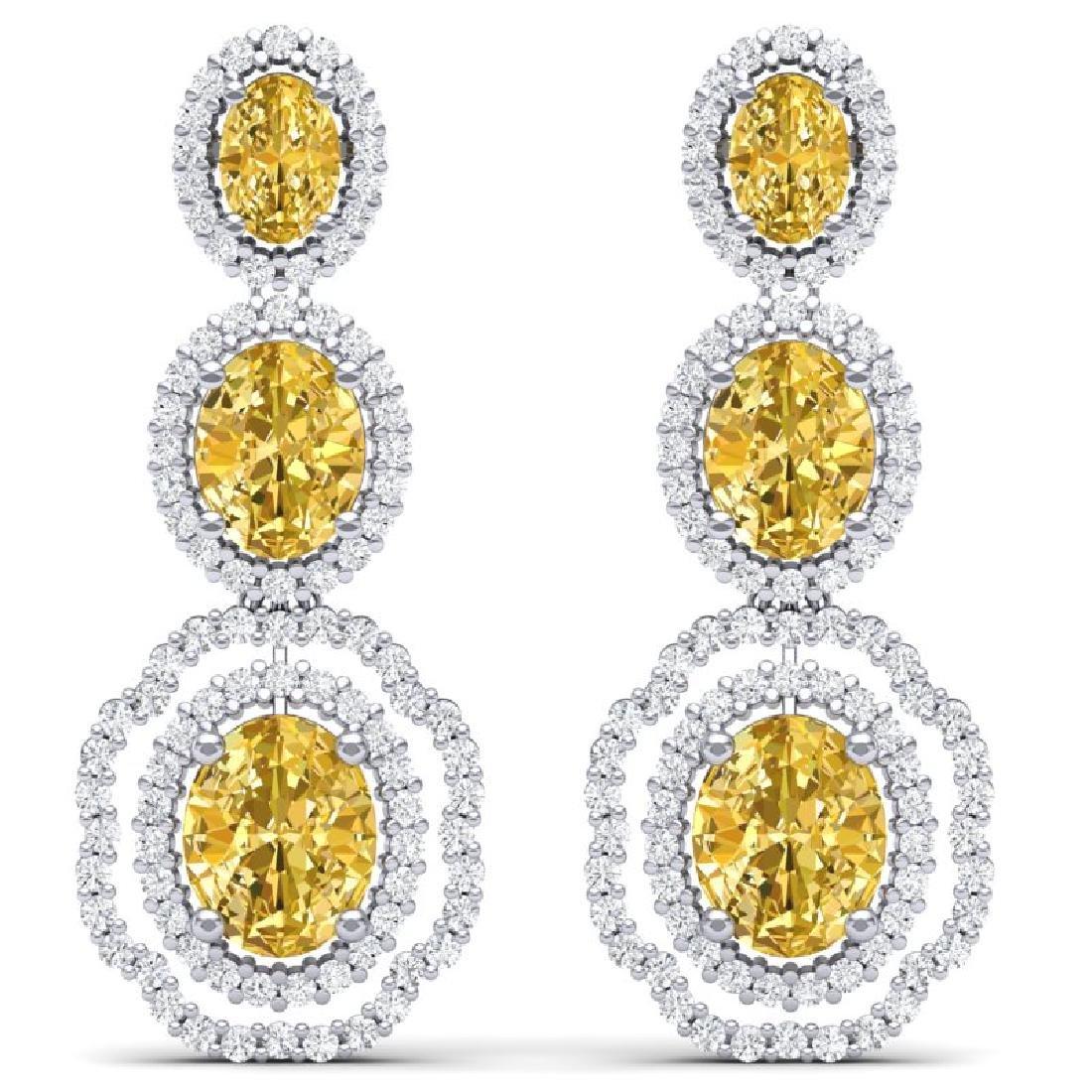 15.65 CTW Royalty Canary Citrine & VS Diamond Earrings