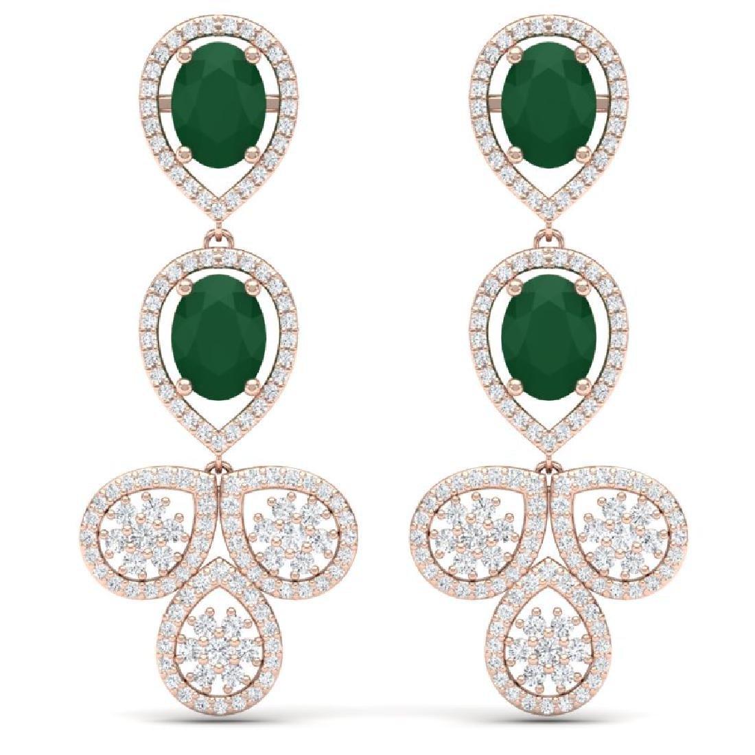 9.75 CTW Royalty Emerald & VS Diamond Earrings 18K Rose