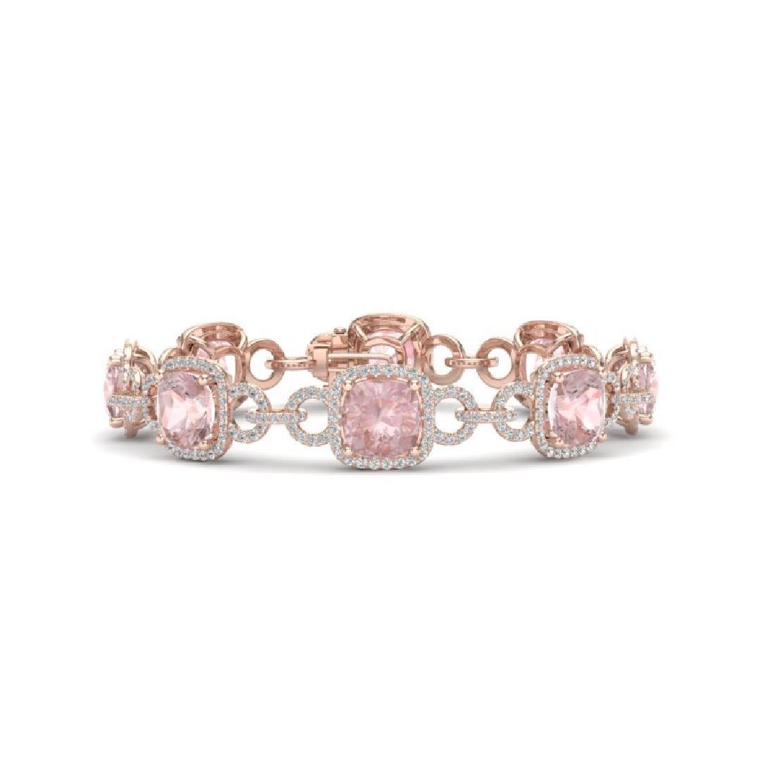 22 CTW Morganite & VS/SI Diamond Bracelet 14K Rose Gold