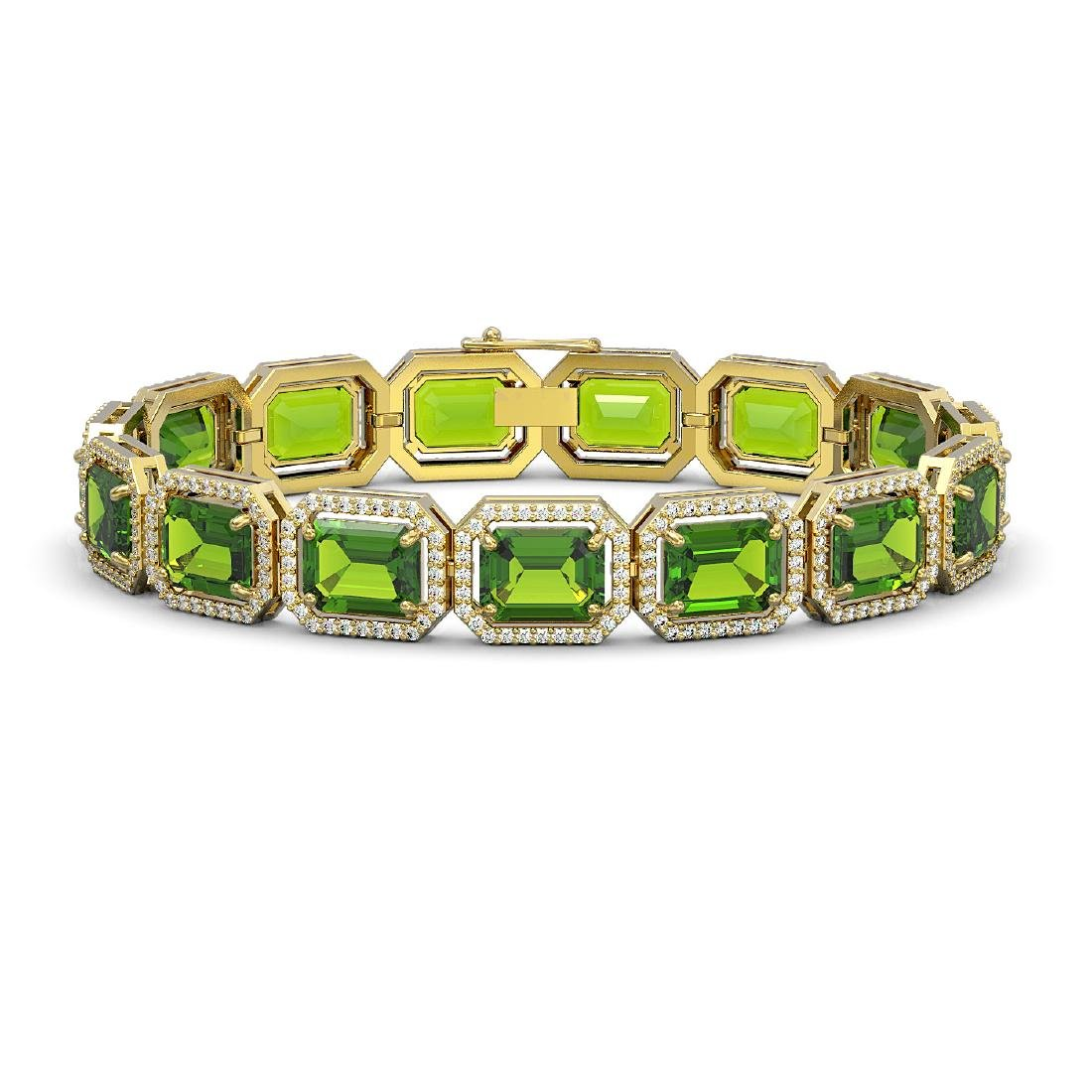 33.37 CTW Peridot & Diamond Halo Bracelet 10K Yellow