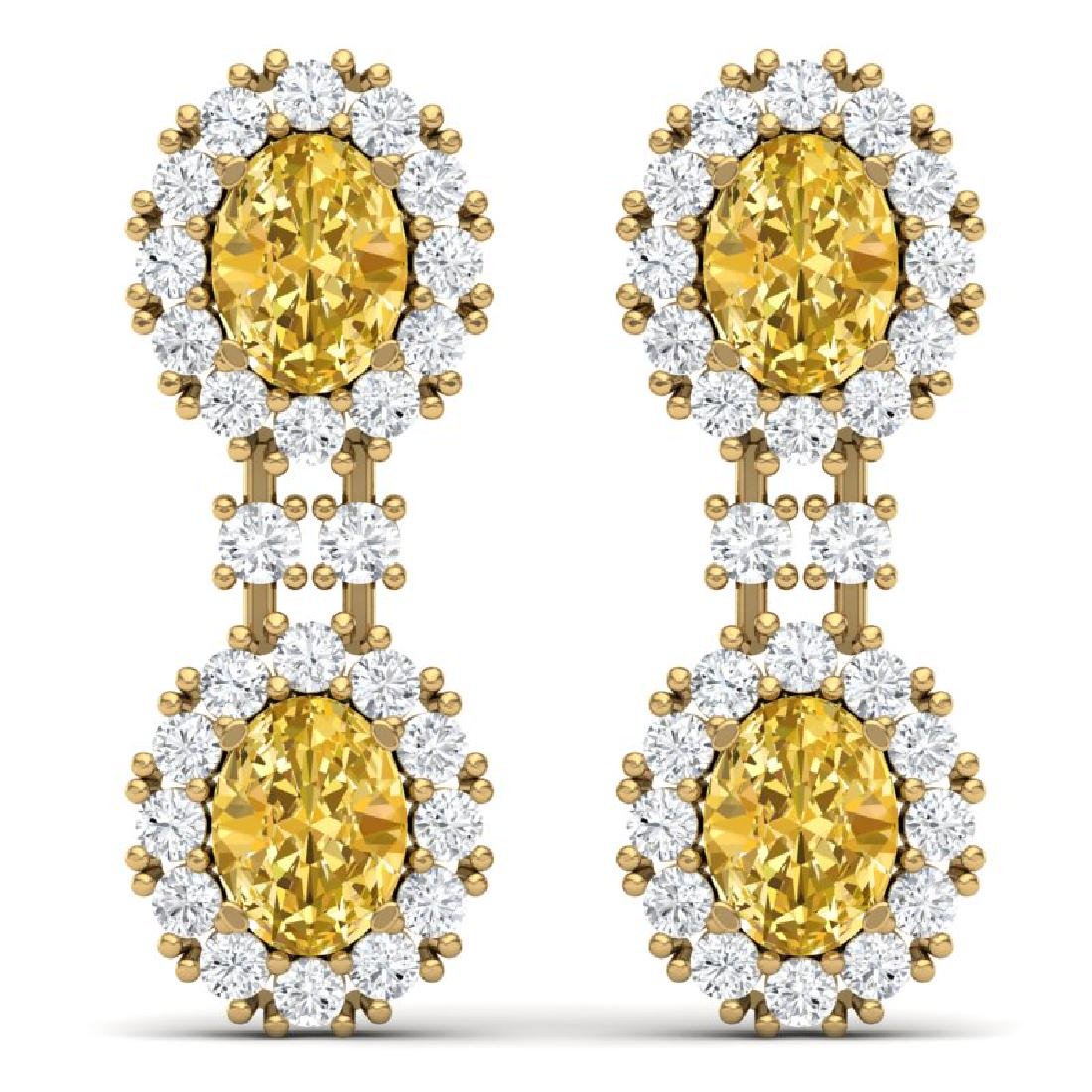 7.8 CTW Royalty Canary Citrine & VS Diamond Earrings