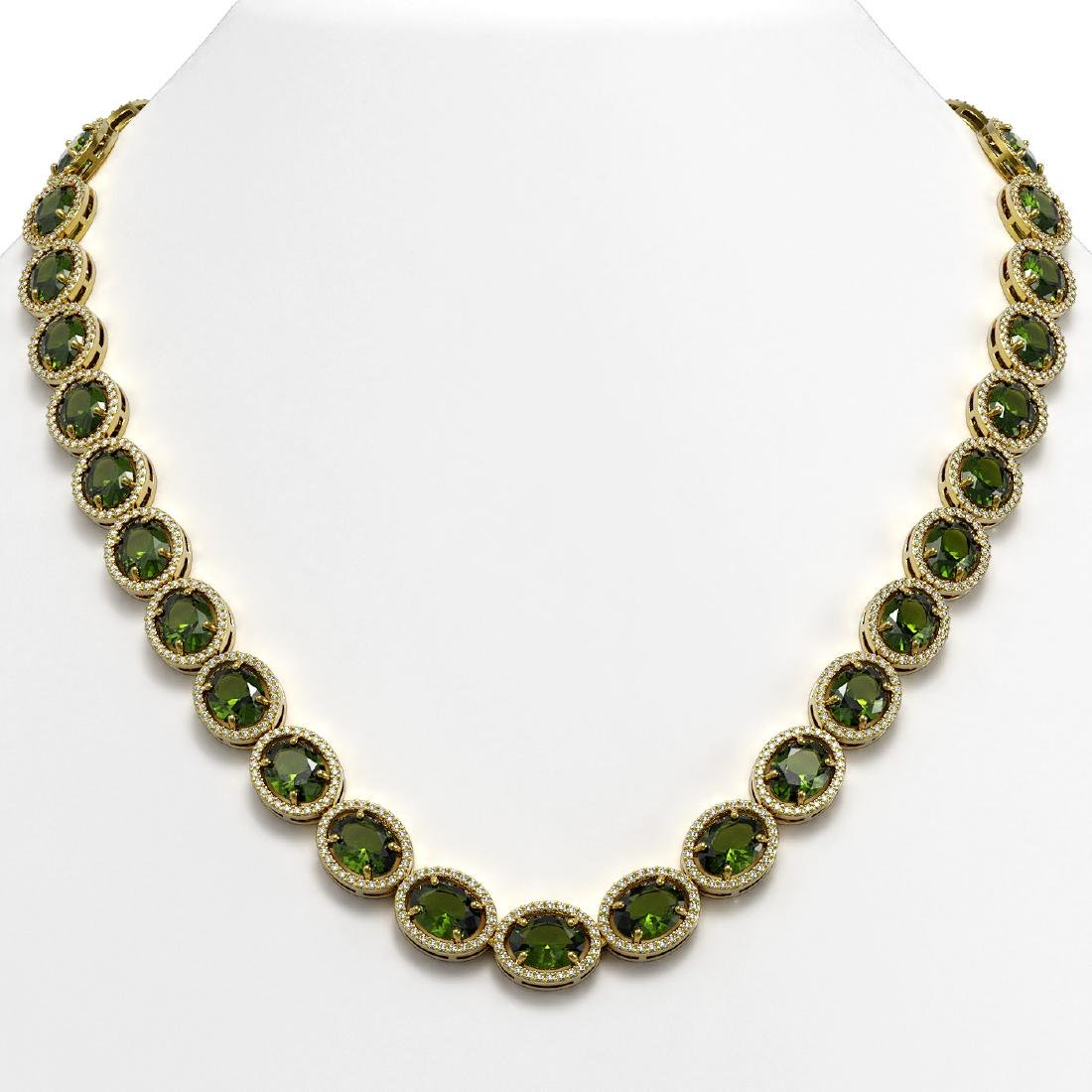 54.48 CTW Tourmaline & Diamond Halo Necklace 10K Yellow