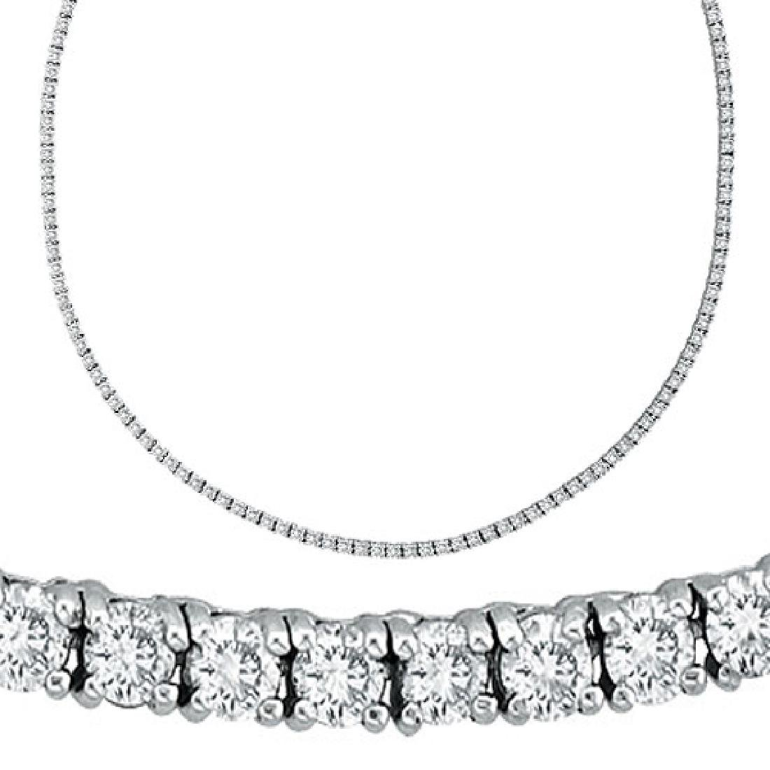 50 CTW Certified SI Diamond Necklace 14K White Gold