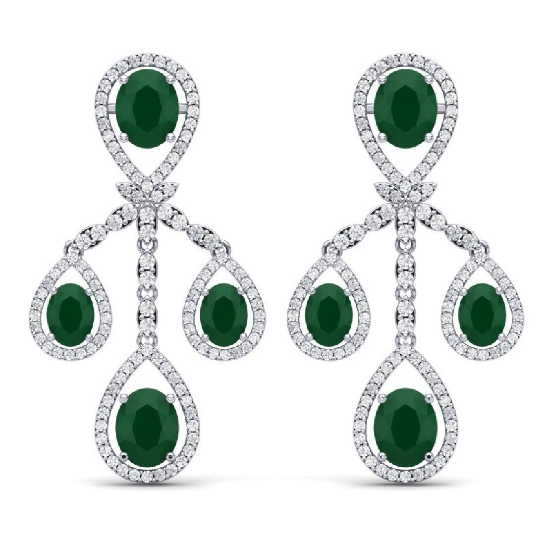 25.08 CTW Royalty Emerald & VS Diamond Earrings 18K