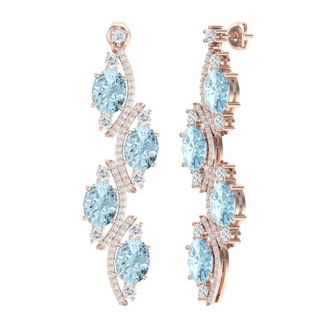 15.72 CTW Royalty Sky Topaz & VS Diamond Earrings 18K - 3