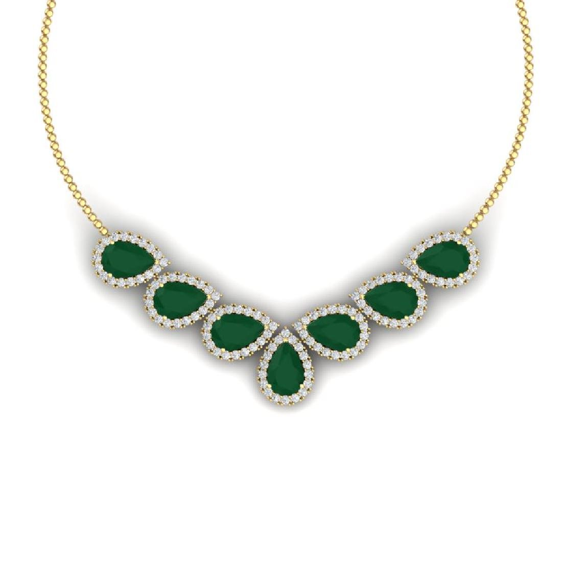 34.72 CTW Royalty Emerald & VS Diamond Necklace 18K
