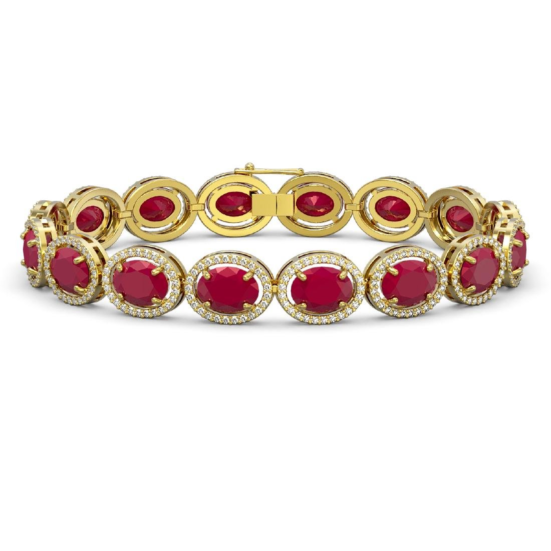 31.79 CTW Ruby & Diamond Halo Bracelet 10K Yellow Gold