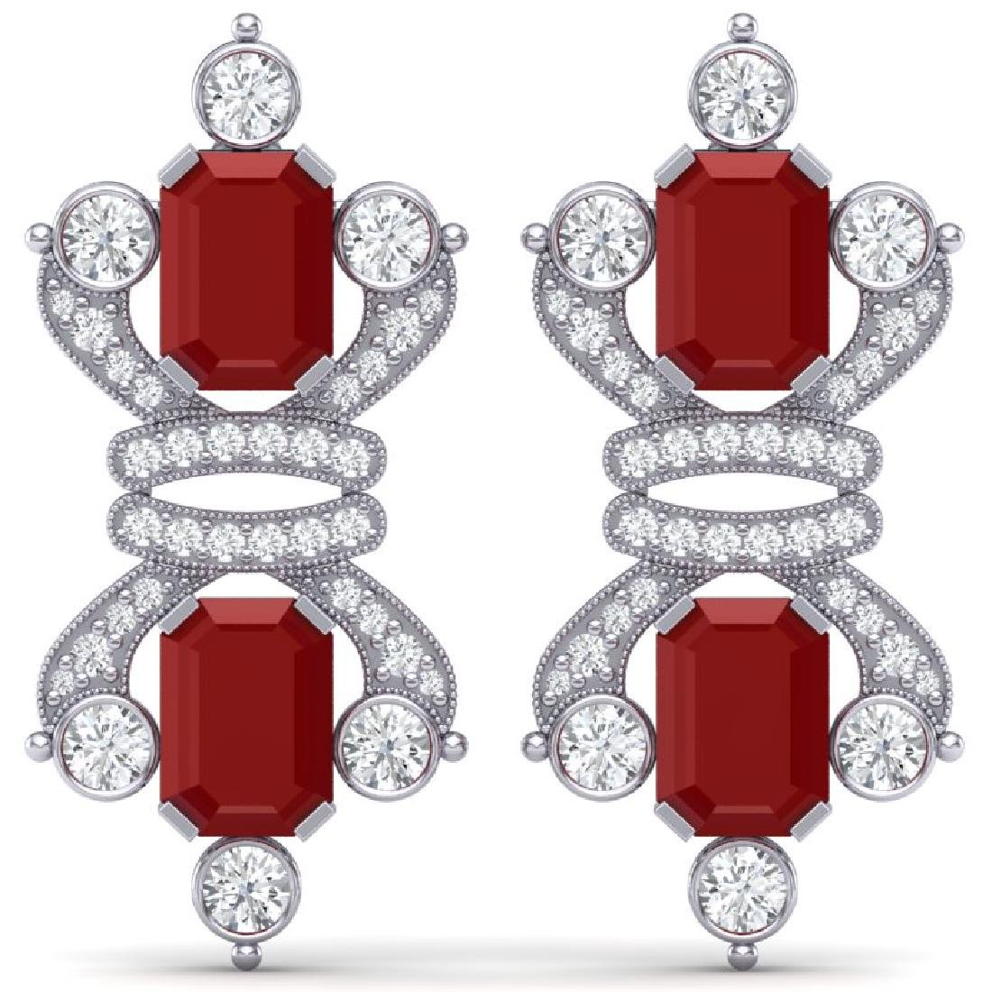 27.36 CTW Royalty Designer Ruby & VS Diamond Earrings