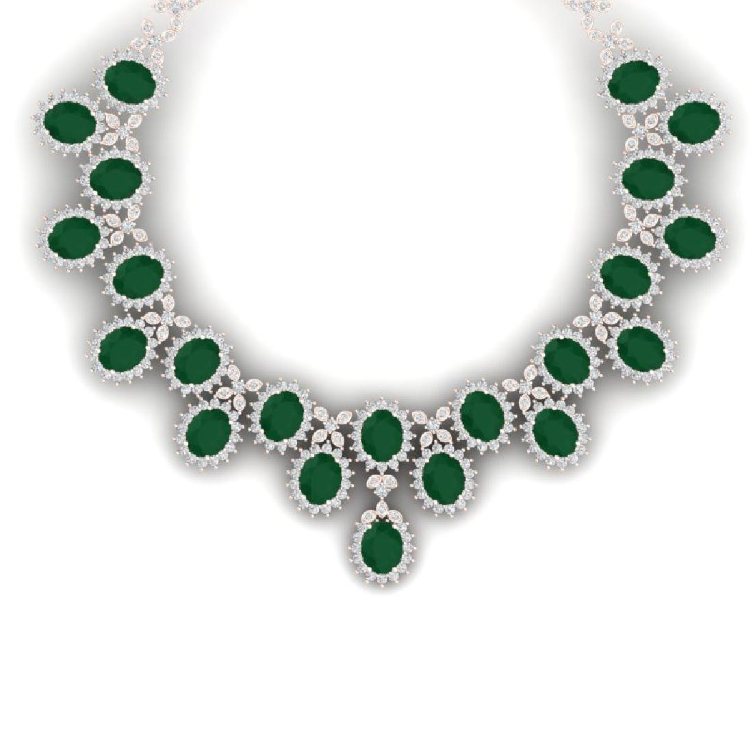 81 CTW Royalty Emerald & VS Diamond Necklace 18K Rose