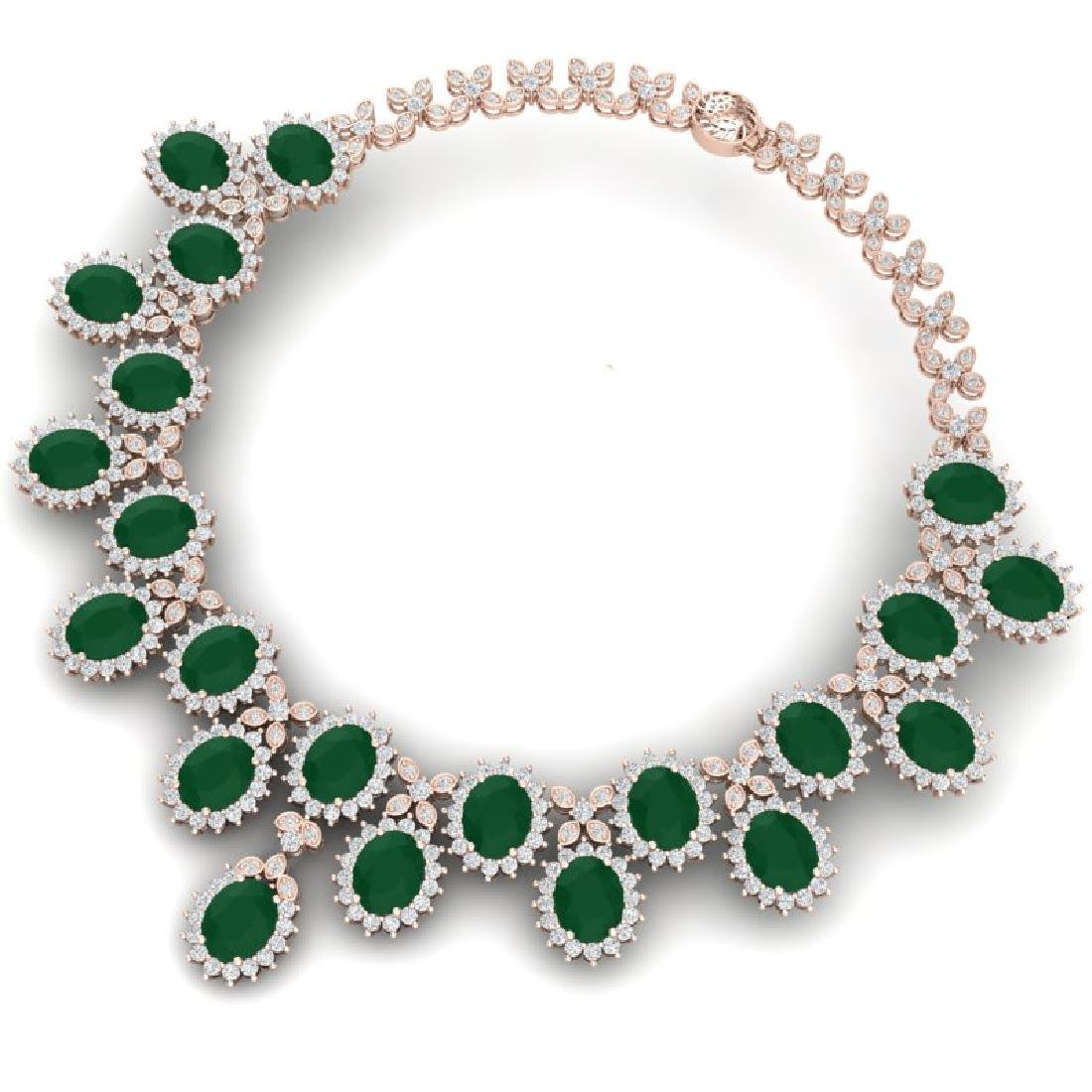 81 CTW Royalty Emerald & VS Diamond Necklace 18K Rose - 2