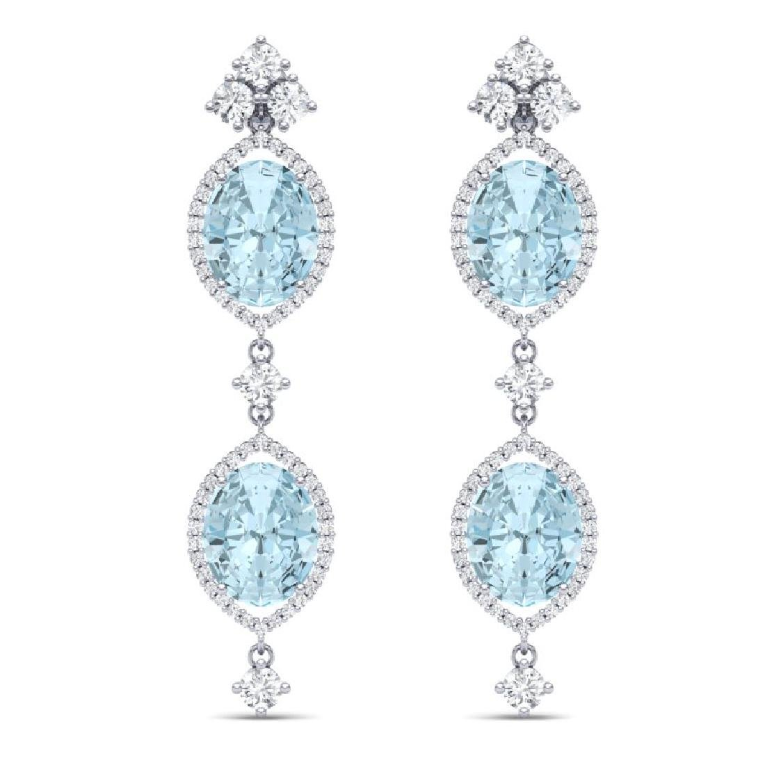 16.41 CTW Royalty Sky Topaz & VS Diamond Earrings 18K