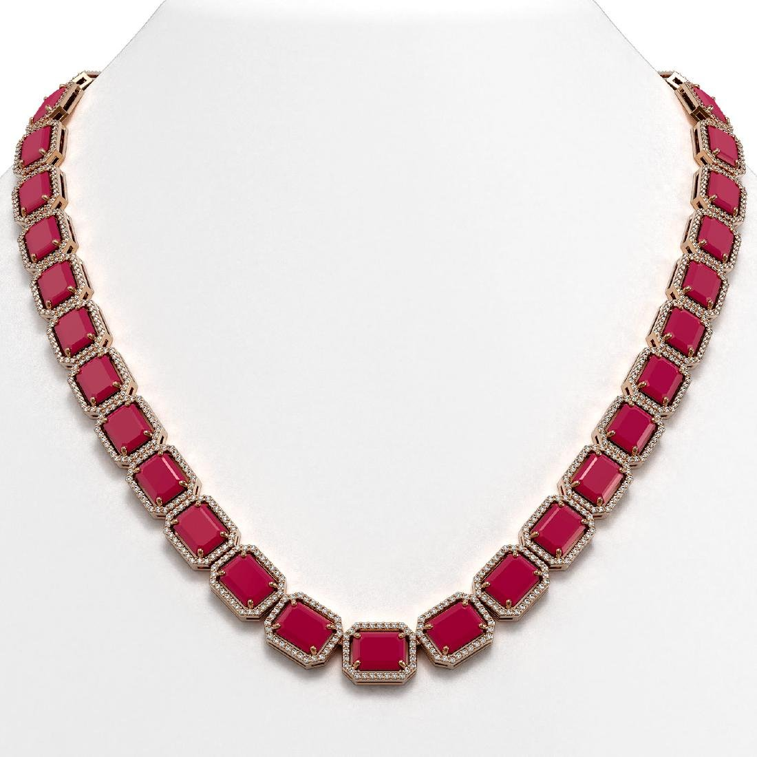 84.94 CTW Ruby & Diamond Halo Necklace 10K Rose Gold