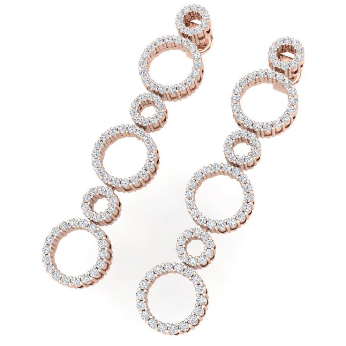1.50 CTW Certified SI/I Diamond Halo Earrings 18K Rose