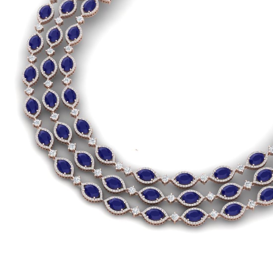 85.81 CTW Royalty Sapphire & VS Diamond Necklace 18K