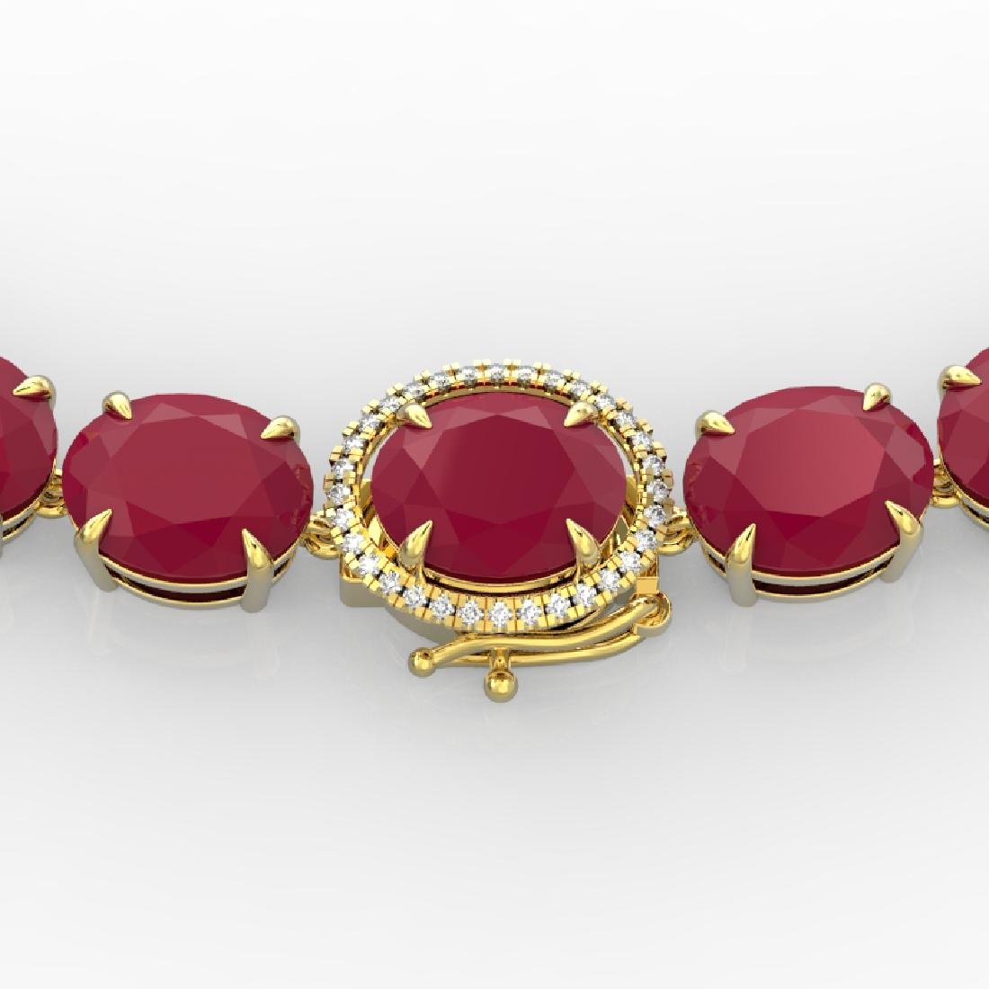 170 CTW Ruby & VS/SI Diamond Necklace 14K Yellow Gold