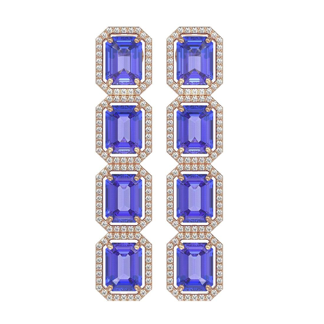 19.39 CTW Tanzanite & Diamond Halo Earrings 10K Rose