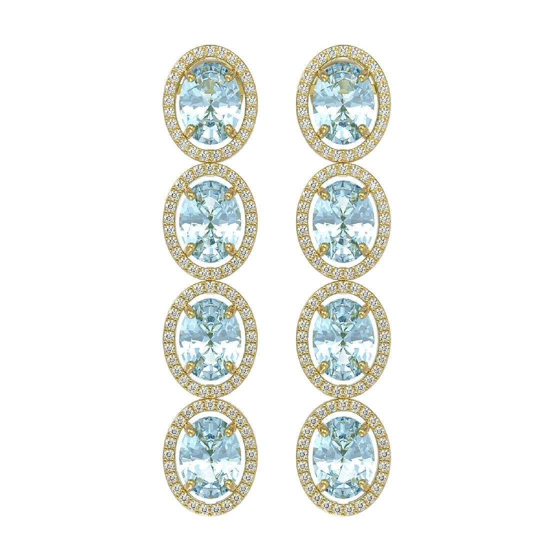 11.72 CTW Aquamarine & Diamond Halo Earrings 10K Yellow