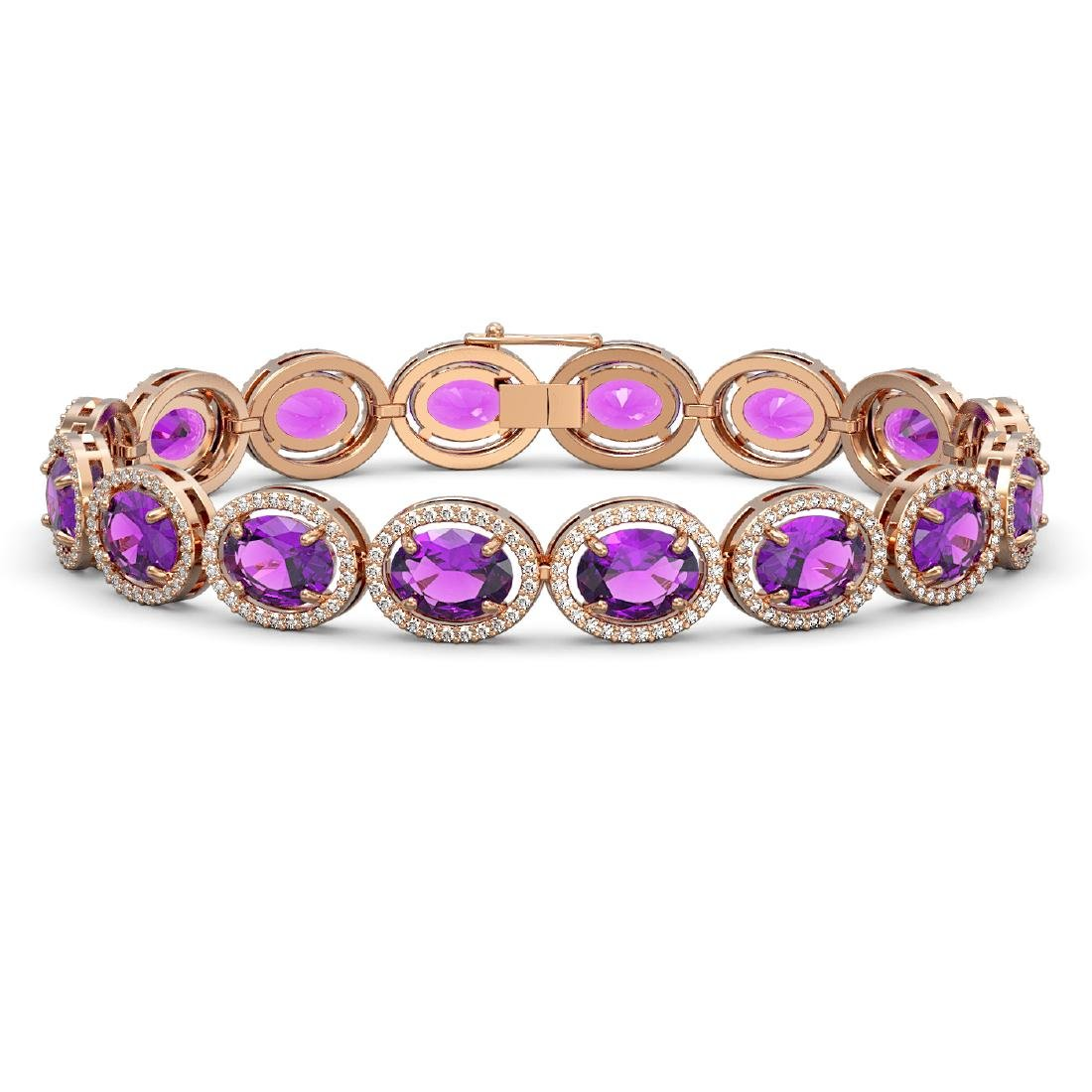 24.72 CTW Amethyst & Diamond Halo Bracelet 10K Rose
