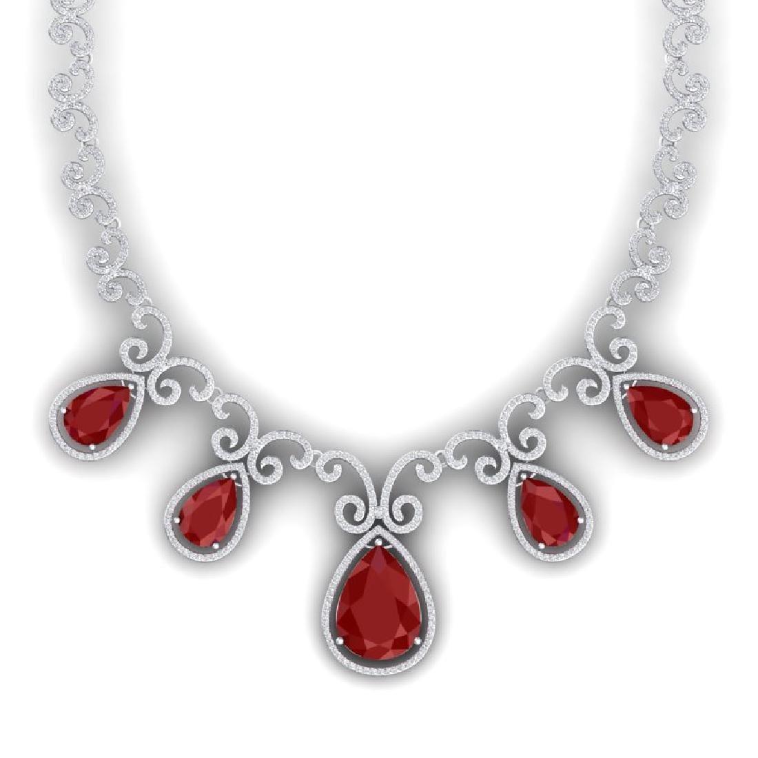 38.42 CTW Royalty Ruby & VS Diamond Necklace 18K White