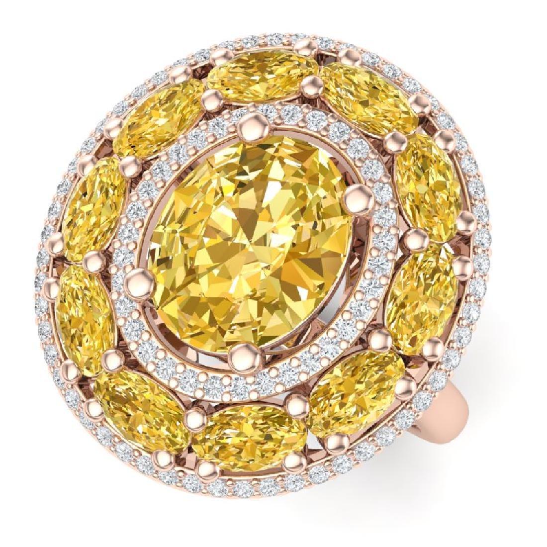 7.21 CTW Royalty Canary Citrine & VS Diamond Ring 18K
