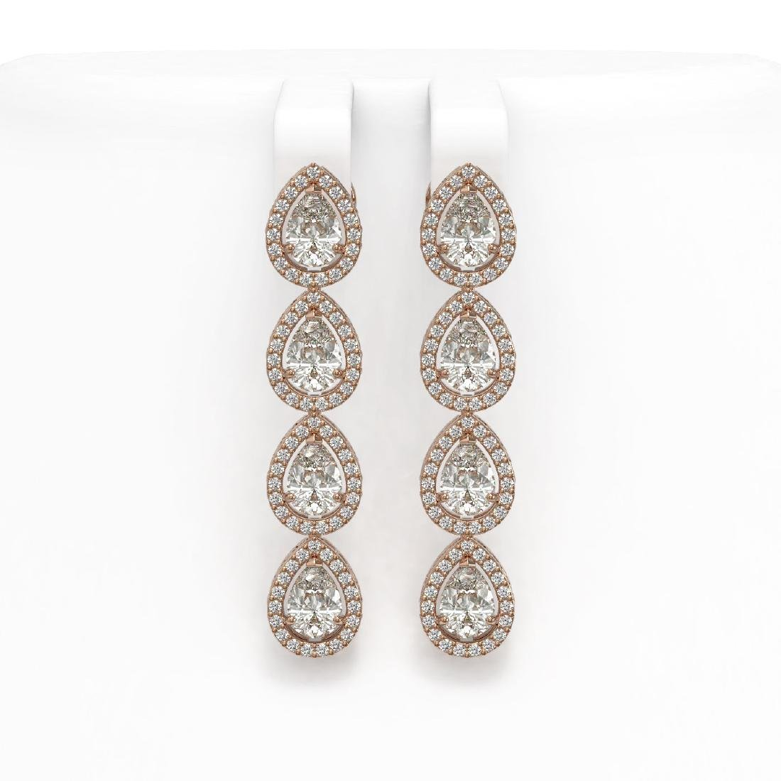 6.01 CTW Pear Diamond Designer Earrings 18K Rose Gold