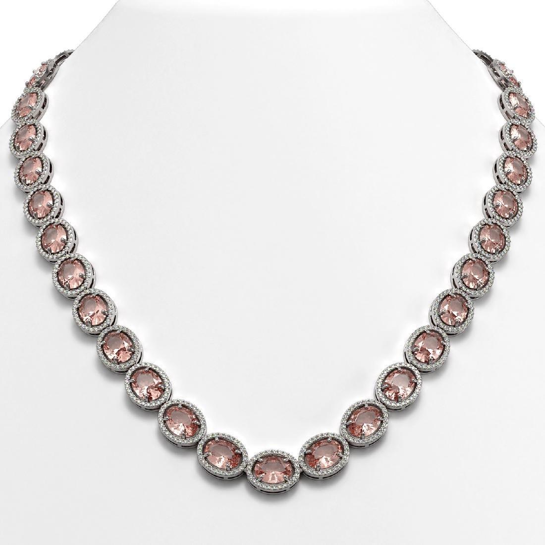 52.63 CTW Morganite & Diamond Halo Necklace 10K White