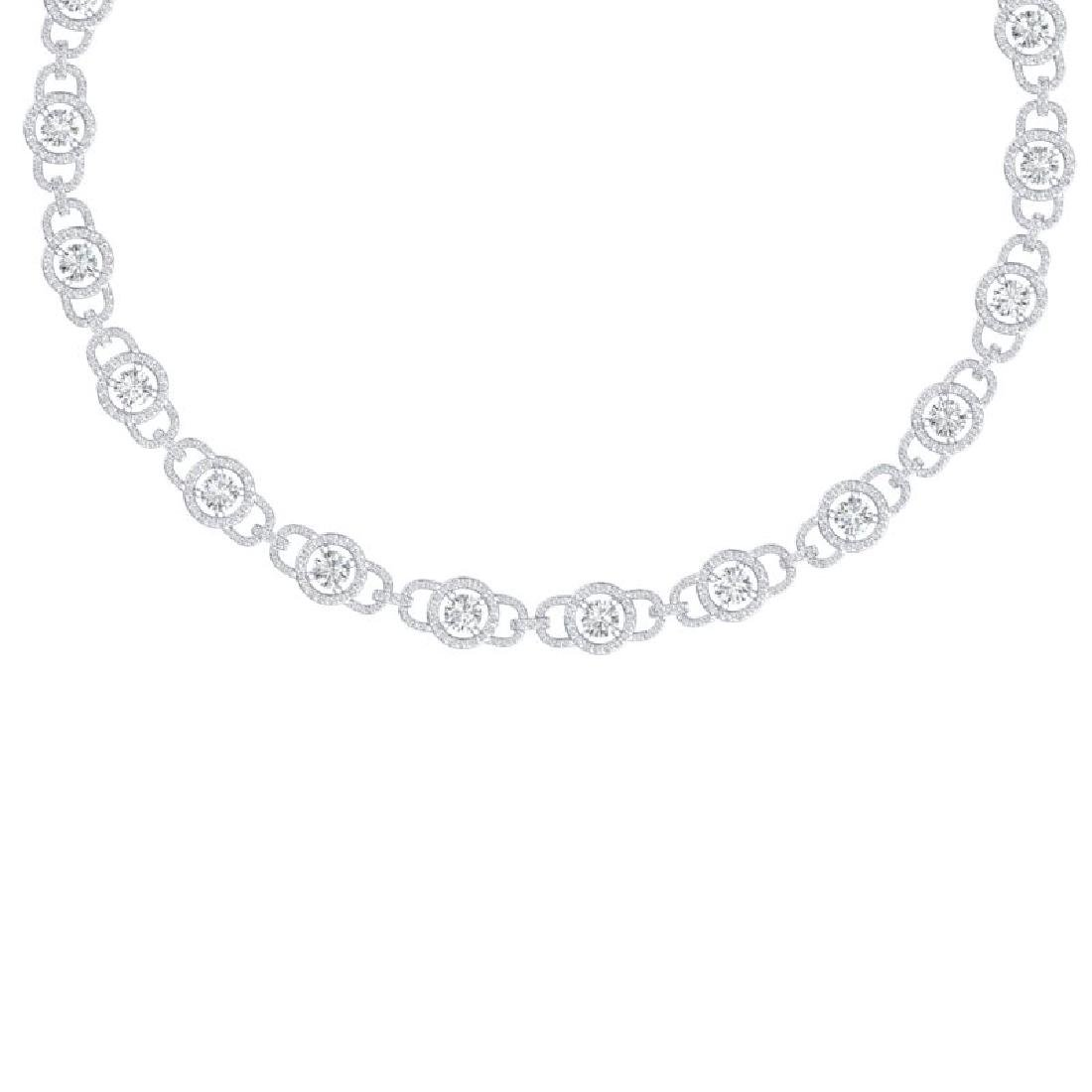 25 CTW Certified SI/I Diamond Halo Necklace 18K White